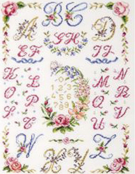 Floral Wreath & Festoons ABC Sampler Cross Stitch Kit